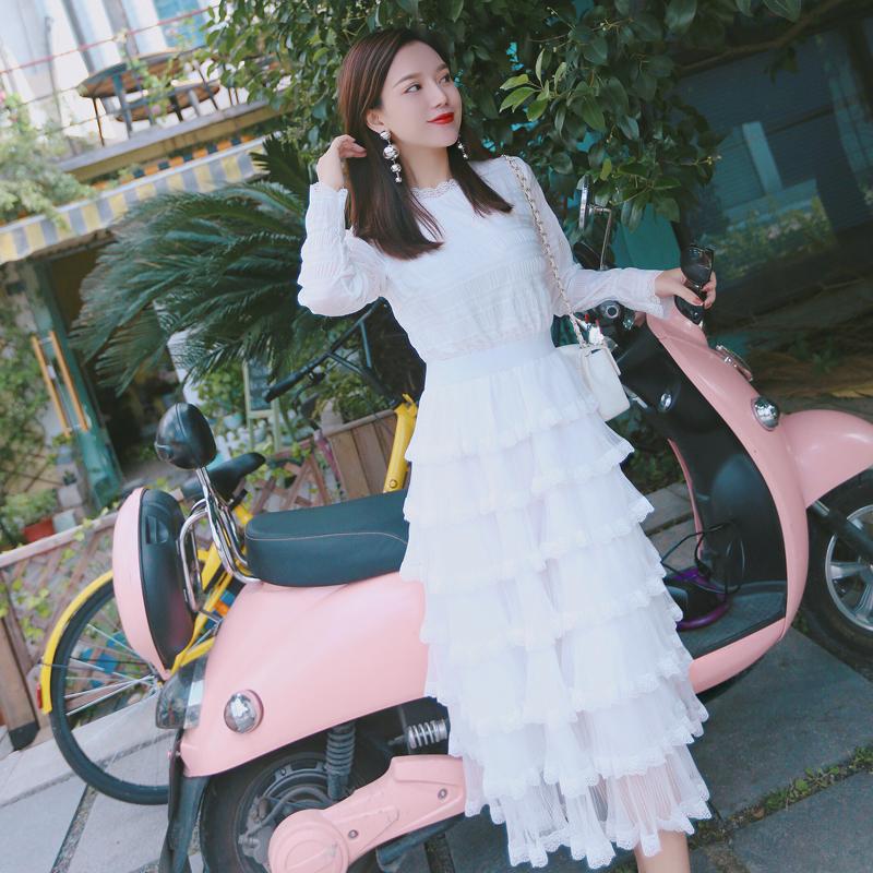 白色仙氣蛋糕裙連衣裙女秋鼕打底2017新款時尚多層次長袖高腰蓬蓬