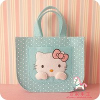 Free cutting original nonwoven materials package DIY non finished handmade cloth hand bag hellokitty