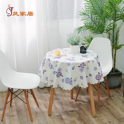 圆桌桌布定制PVC防水防油防烫免洗圆形简约现代植物卡通大小圆桌
