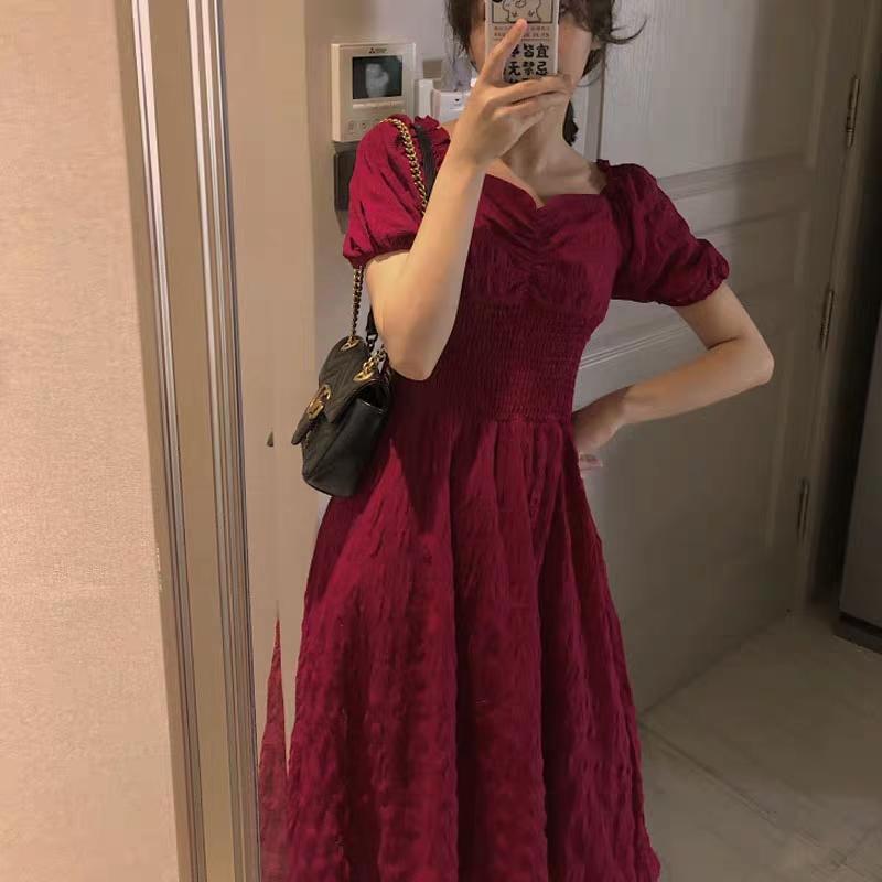 夏季法式方领中长款复古短袖收腰显瘦改良版仙女连衣裙子251#
