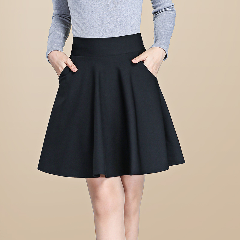 秋季2017口袋短裙女装 高腰大码修身半身中裙大摆百褶A字裙打底裙