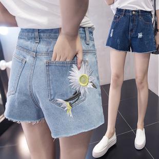 2018春夏花朵刺绣牛仔裤毛边磨破高腰浅色修身热裤女短裤女