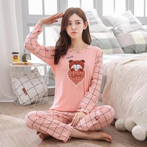 新款睡衣卡通女士可爱长袖长裤家居服套装
