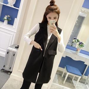 中长款马甲外套女2017春秋季新款韩版西装翻领毛呢无袖纯色上衣