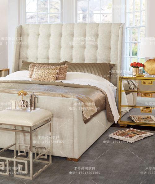 American country Jane cloth double high back bed bed modern model room soft pull bed