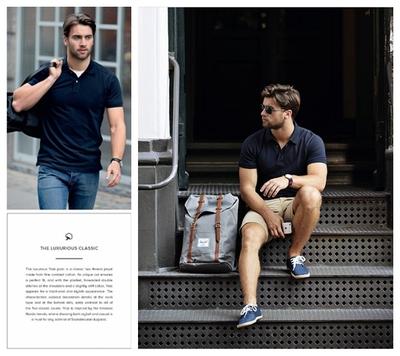 欧美18夏季新款珠地网眼纯棉POLO衫男短袖修身保罗商务休闲加大码原单