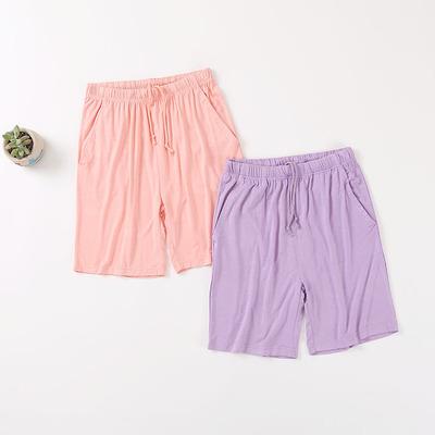 睡裤女夏莫代尔短裤运动纯色薄款大码家居裤宽松五分裤沙滩裤中裤
