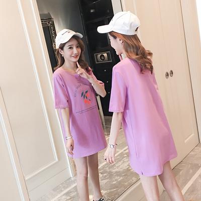 实拍 夏季新款韩版时尚宽松印花中长款孕妇T恤连衣裙 1221#