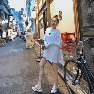 x-panda下衣失踪t恤女中长款短袖宽松2019新款夏潮牌网红白色上衣