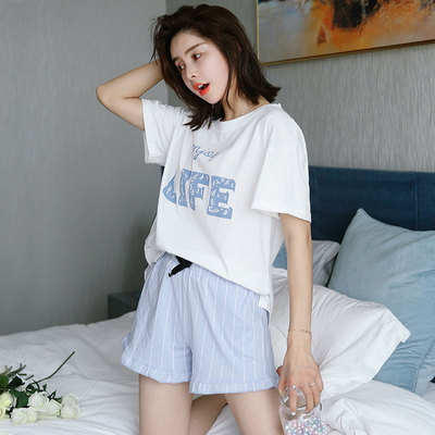 Women's Pajamas short-sleeved two-piece cotton Korean thin loose clothing