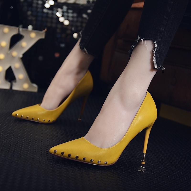 2017秋季新款韓版時尚鉚釘高跟鞋女細跟尖頭性感 夜場超高跟單鞋