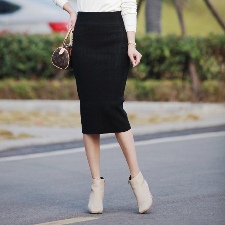 秋冬新百搭韩版显瘦包臀修身中长款针织半身裙一步裙时尚铅笔半裙