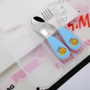 嬰兒童叉子勺子短柄套裝寶寶輔食學吃飯訓練勺短把防燙304不銹鋼