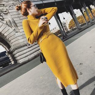 【女装】2018秋冬新款女装中长款针织连衣裙修身过膝一步打底毛衣裙包臂裙