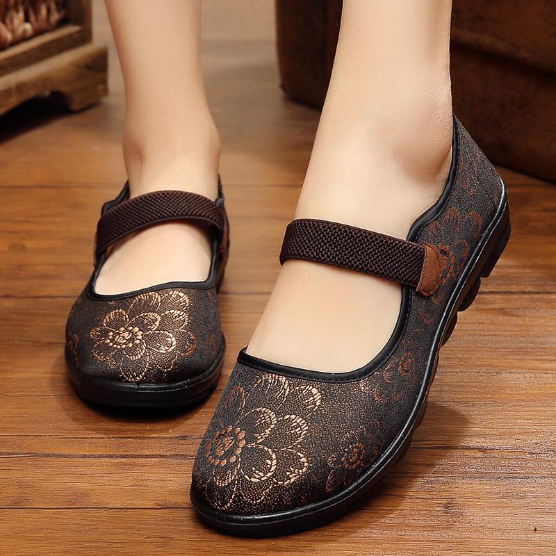 老北京布鞋女中老年平底秋季鞋子 新款绣花妈妈老人布鞋女 奶奶鞋