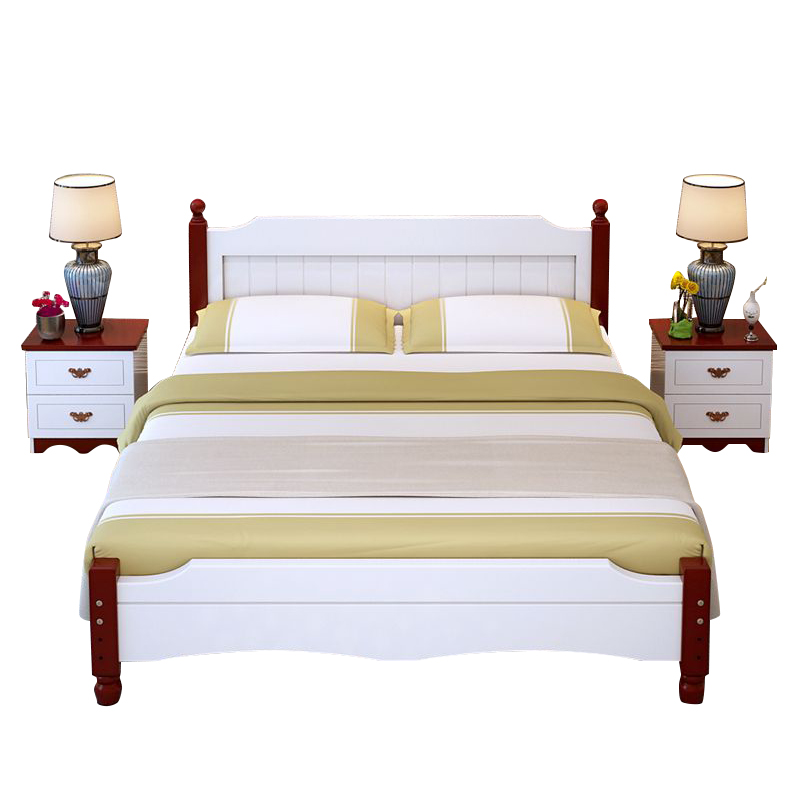 Shipping bed lengthened and widened stitching pine wood double bed single bed tatami bed for children