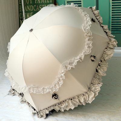 韩国小清新雨伞折叠女公主黑胶防晒遮阳伞蕾丝太阳伞防紫外线女神