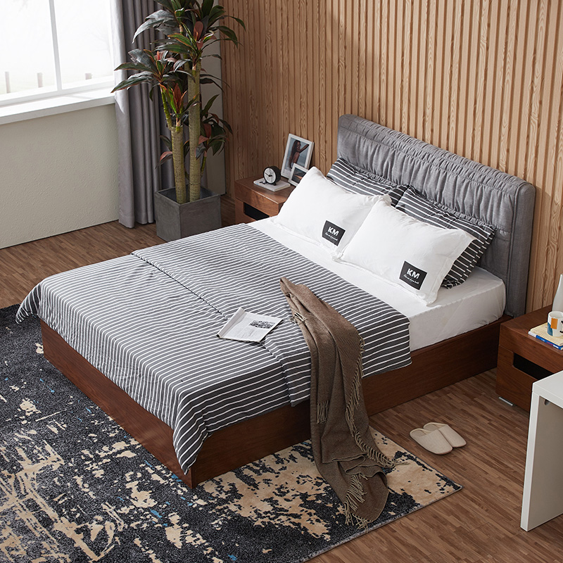 Nordic solid wood bed, walnut storage bed, master bedroom 1.8 meters, new Chinese double bed, simple modern soft marriage bed