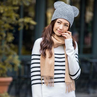 [MLDZT011]茉莉雅集 腔调撞色条纹 矜贵全羊绒立领针织套衫原单