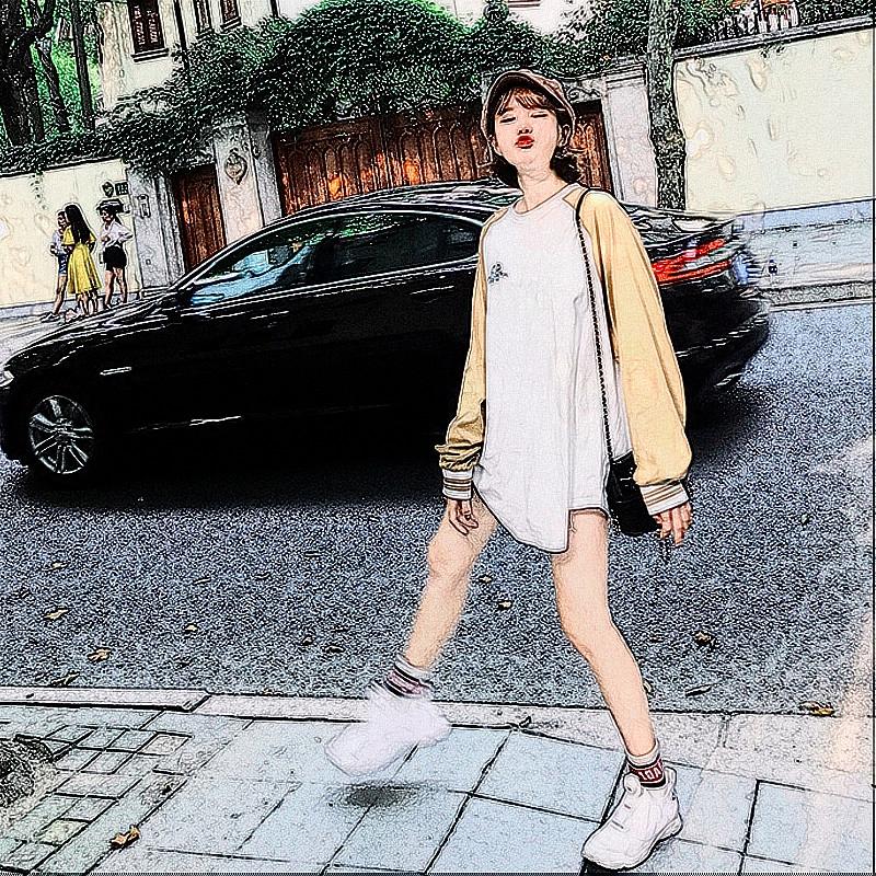 a nagy házban 韩版 bő BIGKING szabadidős nagy méter hosszú), amelyben a bf szél jelentős raglan póló diáklány.