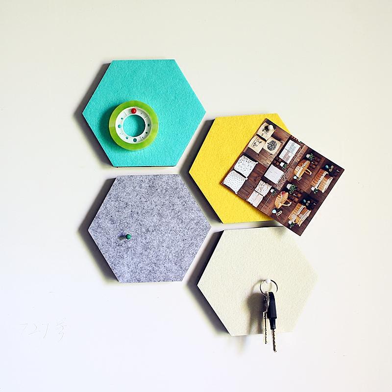 米白色小n【大可叔叔】韓國創意墻貼毛氈六角形置物墻貼裝飾板 自由組合