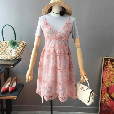 2017夏装新品韩版淑女款甜美蕾丝花朵透视吊带裙+打底裙两件套女
