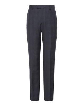意大利MARZOTTO纯羊毛 深蓝格子西裤 修身款 男士长裤原单