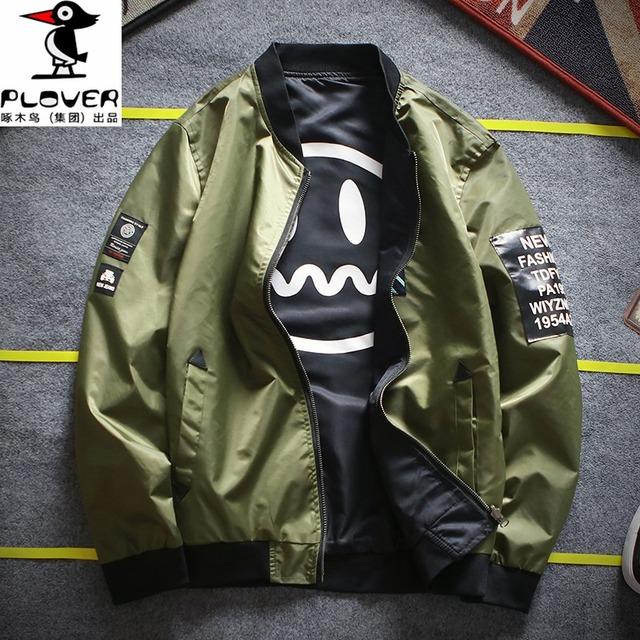 新款夹克双面穿棒球服春季男装夹克春装外套上衣飞行服大码