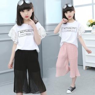 女童套装8中大童短袖7两件套女孩12小学生夏天衣服6夏季9阔腿裤子