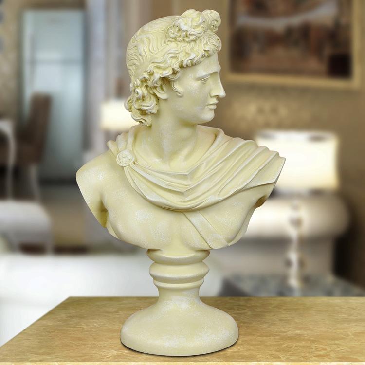 仿古銀色大衛頭像雕塑歐式家居人物擺飾 樹脂工藝品辦公室擺件 雕刻擺設