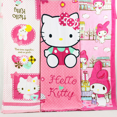 HELLO KITTY凯蒂猫儿童可爱吸水浴巾大毛巾成人女士洗澡巾沙滩巾