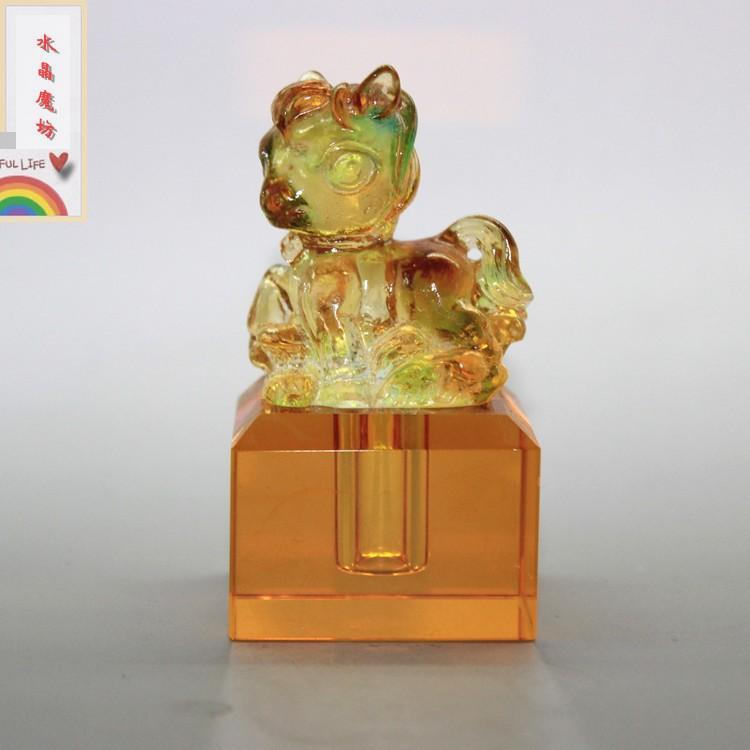 圖片色馬年新款寶寶紀念品 水晶琉璃胎毛印章 創意禮物胎發章diy 臍帶章