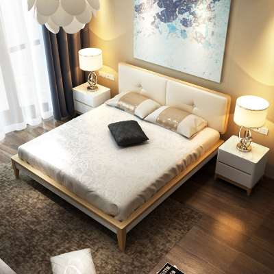 Furniture Nordic thin bed, simple modern oak bed 1.5m1.8 meters master bedroom, soft wood double marriage bed