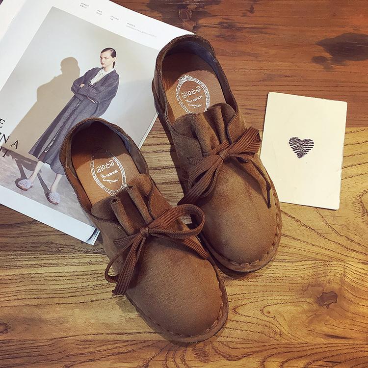 秋冬绒面小皮鞋女单鞋学生套脚复古系带休闲鞋英伦学院风平底鞋