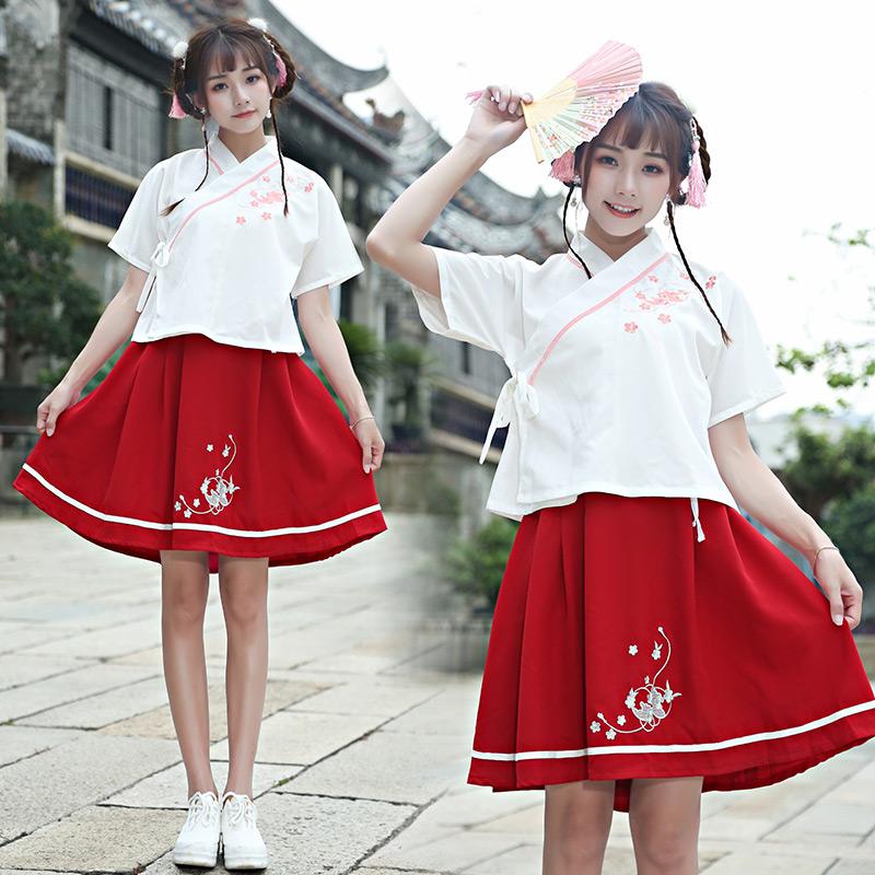 8788实拍夏装新款改良汉服女交领民国风短袖日常汉元素两件套
