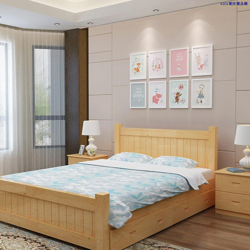 Simple household wood 1.5 meters 1.8 meters double bed single adult Storage Drawer Bed 1.2m tatami bed for children
