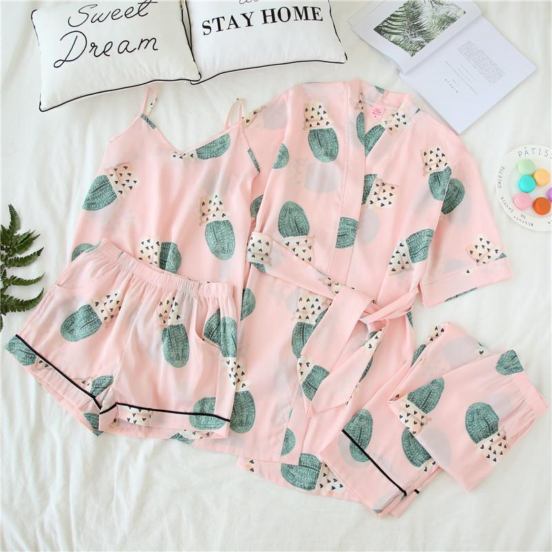 Silk silk pajamas sexy female summer shorts three suit female sling four piece suit Home Furnishing