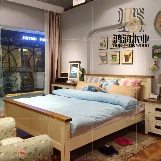 Mediterranean solid wood double bed, all white oak simple Venetian bed, close to the country wedding bed custom made furniture promotion