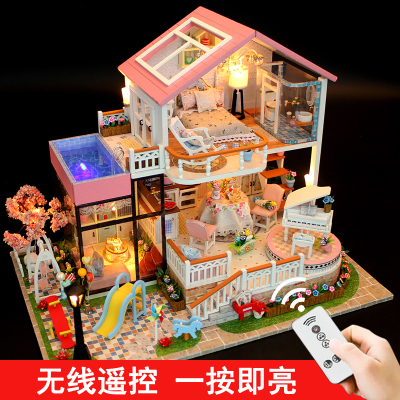 DIY House Model Handmade diy cottage mini house creative art toy oversized assembled villa princess room