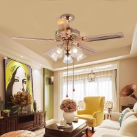 American style simple glass fan hanging lamp, European style garden, French golden LED restaurant, pull switch, big Chandelier