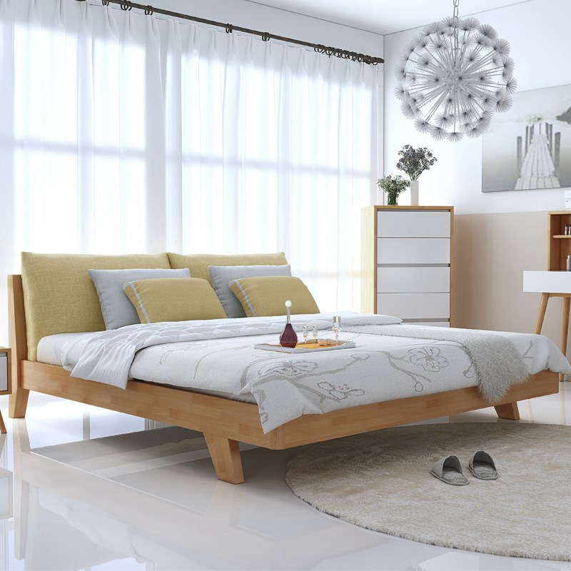 Modern minimalist fashion style wooden household Nordic soft by 1.5m1.8 m double Zhuwo pure solid wood bed