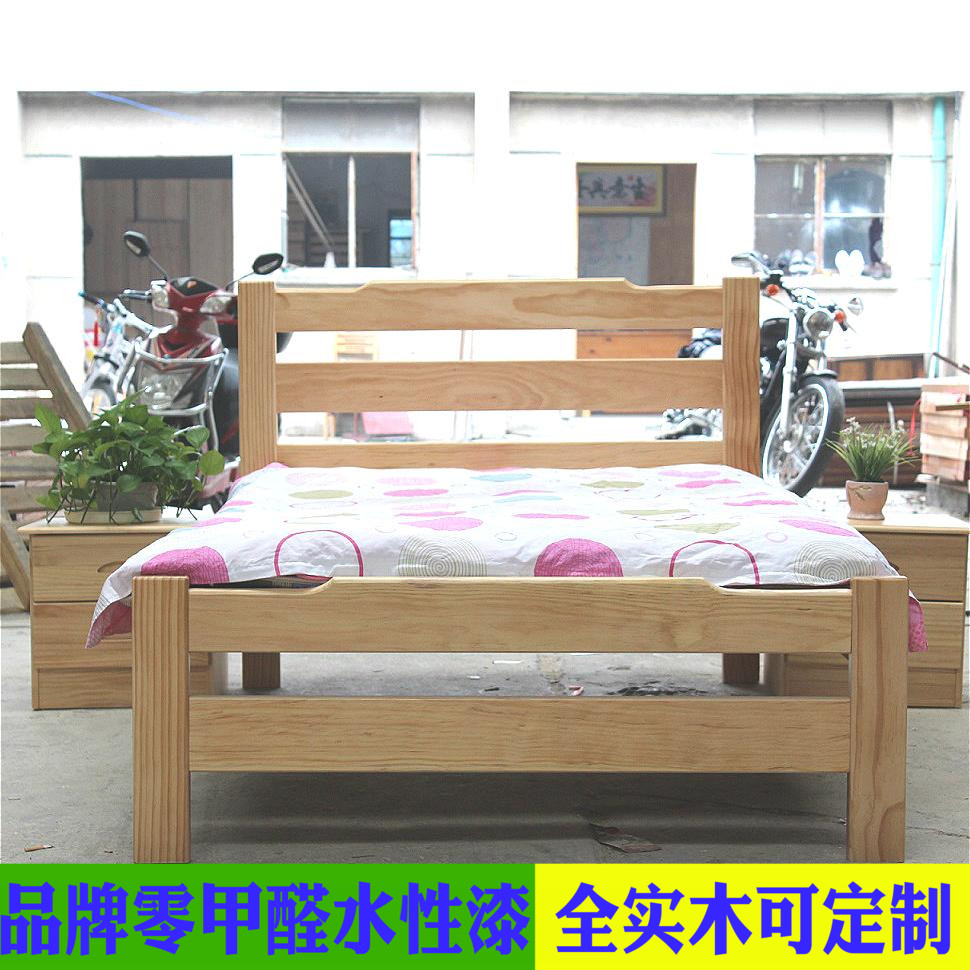 Pine bed, New Zealand pine, children's bed, solid wood single bed, pine furniture custom Shanghai