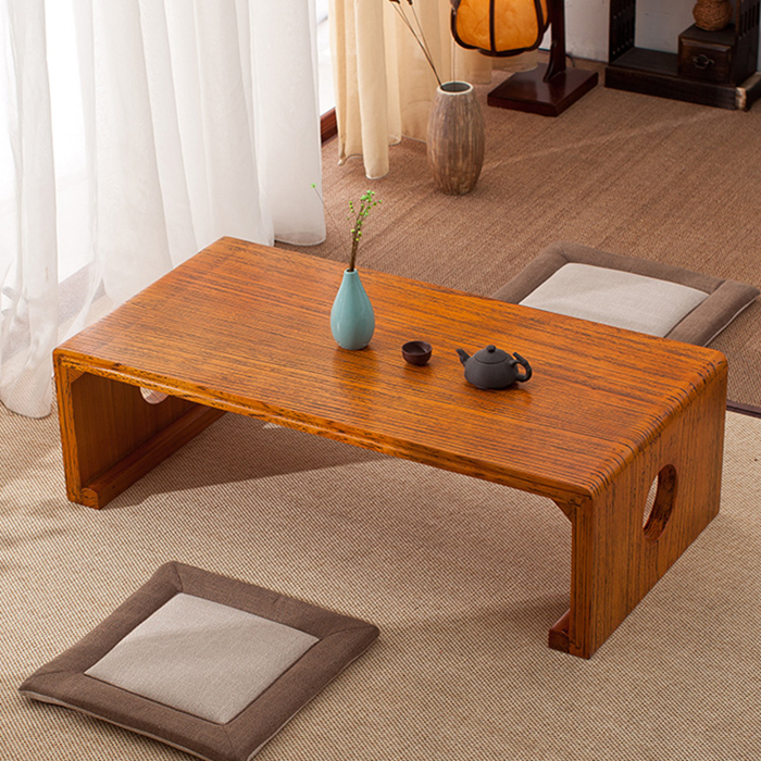 On the balcony tea table table wood tea table tatami bed covered with thick Chinese style tea room