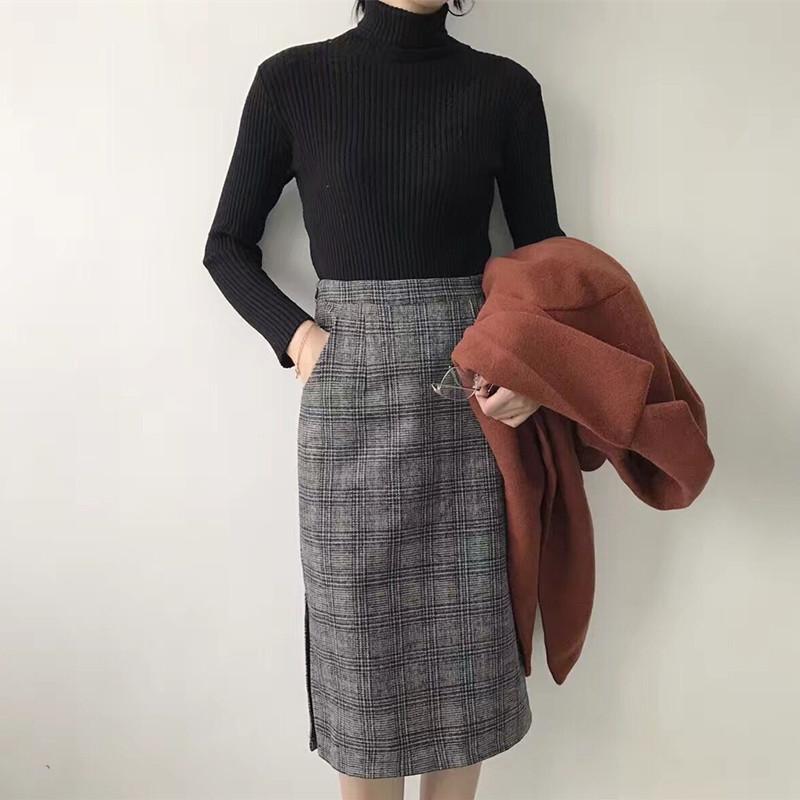 秋季韩版女装气质高腰加厚毛呢包臀裙中长款开叉格子A字半身裙女