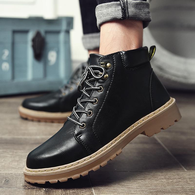短靴马丁靴男冬季高帮加绒皮靴潮流保暖工装靴军靴百搭复古大头鞋
