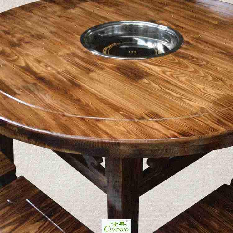 Combinación de circular sillas de cocina caliente electromagnética combinada de mesa Mesa de madera y gas caliente retro.
