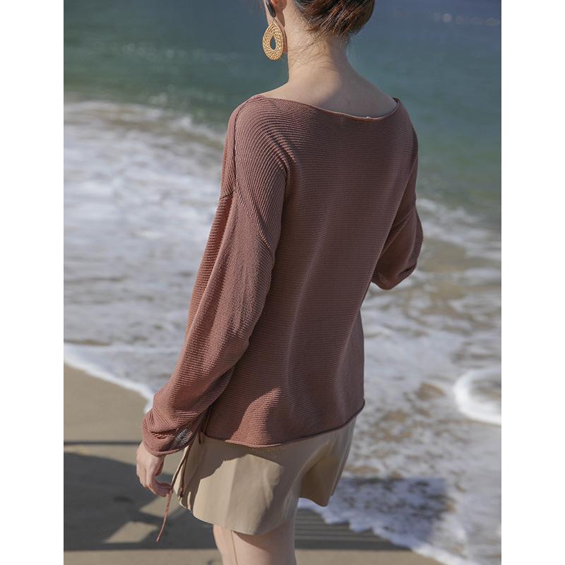 ez női kims2017 őszi 针织衫 otthon női t egy kötél 打底 bolyhosképű 纯色 laza póló.