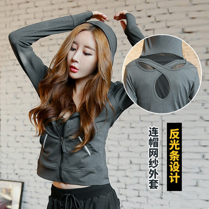 The fall of new fitness coat gauze breathable quick dry shirt Yoga outdoor running long sleeve dance