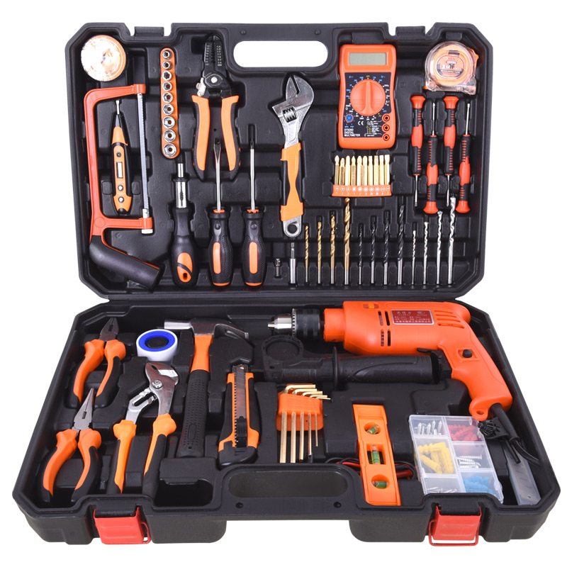 Manuale di Casa vestito di una combinazione di strumenti di Legno rivestiti di Manuale di Hardware in funzione della cassetta degli attrezzi Elettrici per uso domestico per la Lavorazione DEL LEGNO