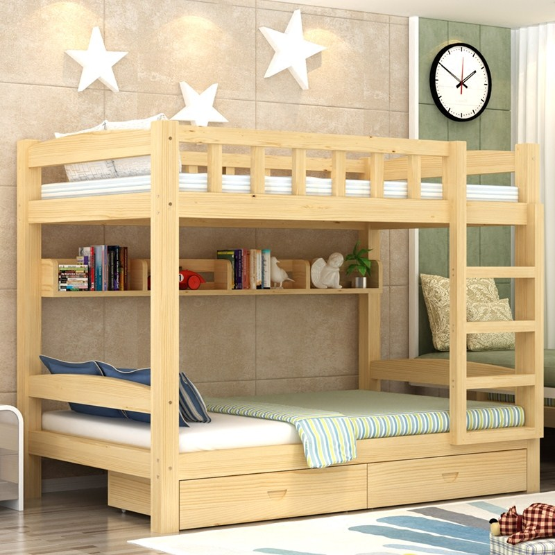 Solid wood bed simple children's dormitory bed height mother bed multifunctional double bed adult pine bed